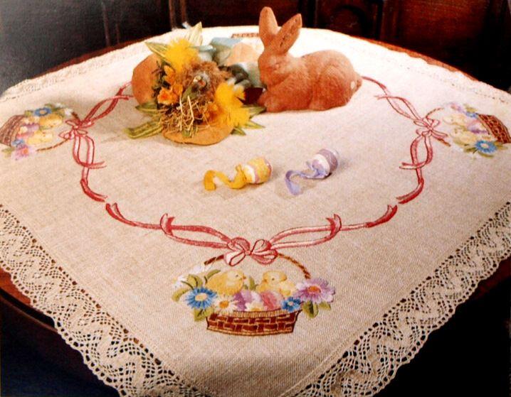 Csibék virágos kosárban - előfestett asztal terítő