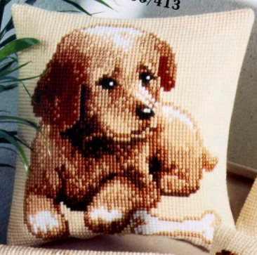 Kutya - Vervaco előfestett keresztszemes párna készlet