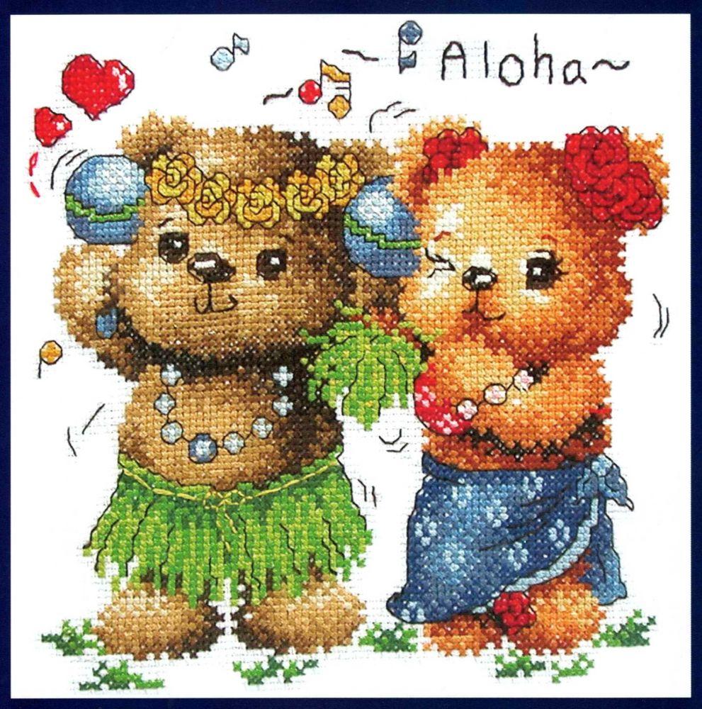 Mackók Aloha - keresztszemes készlet