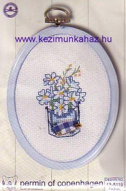 Kék virág  - Permin leszámolható keresztszemes készlet