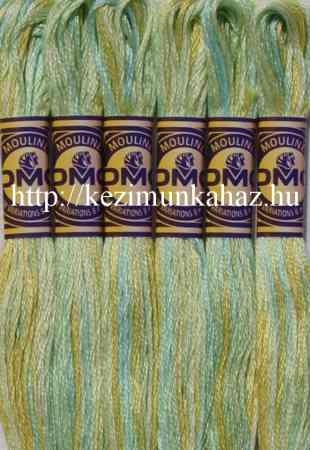 DMC color variations 4060 világoskék-halványzöld-zöldes sárga osztott hímzőfonal