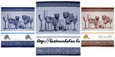Hímezhető jacquard pohár mintás konyharuha