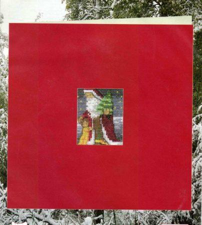 Mikulás - Permin leszámolható keresztszemes képeslap készlet