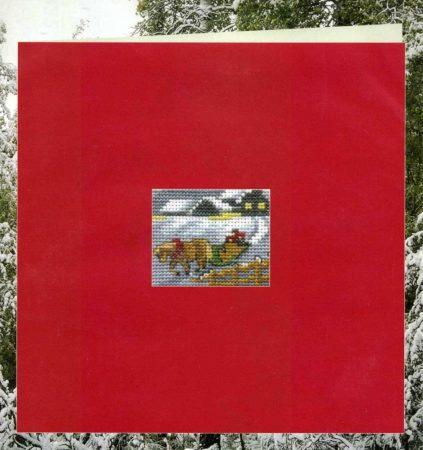 Lovas szán - Permin leszámolható keresztszemes képeslap készlet