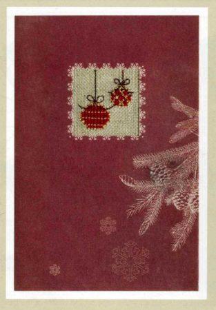 Karácsonyi üdvözlő lap karácsonyfadíszek - Rico leszámolható keresztszemes készlet