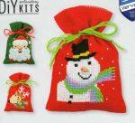 Karácsonyi zsákok - leszámolható keresztszemes 3 db zsák készlet