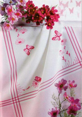 Hímezhető asztalterítő rózsaszín szegéllyel