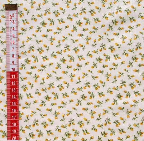Rózsa sárga - mintás vászon anyag