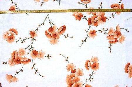 Virágos ág - barna - vászon anyag