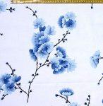 Virágos ág - kék - vászon anyag