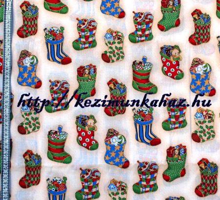 Mikulás zokni - mintás vászon anyag