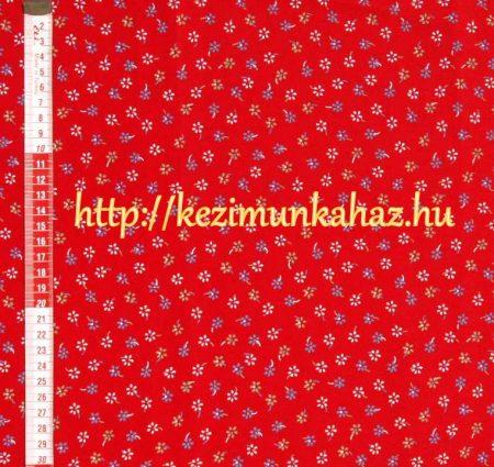 Kis virágok piros vászon anyag