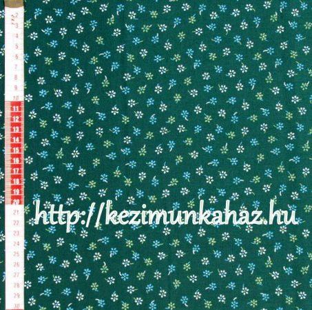 Kis virágok zöld vászon anyag