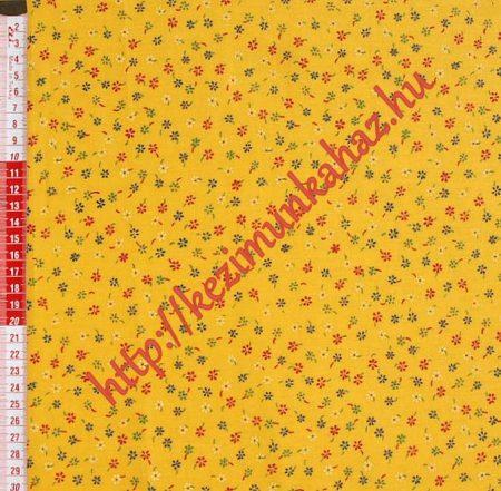 Kis virágok citrom sárga vászon anyag