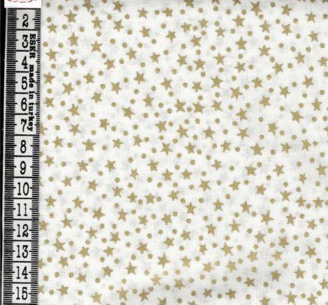 Arany csillagok - mintás vászon anyag fehér