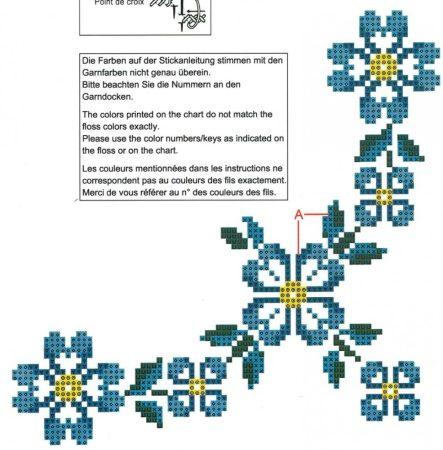 Kék virág - előfestett keresztszemes terítő