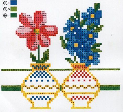 Virágok vázában - előfestett keresztszemes terítő