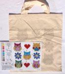 Baglyok, virágok és szívek - előfestett keresztszemes szatyor