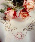 Rózsaszín virág - előfestett terítő