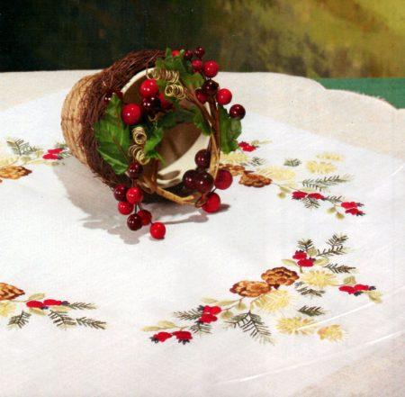 Téli növények - előfestett asztal terítő