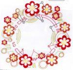 Terrakotta virágok - előfestett asztalterítő