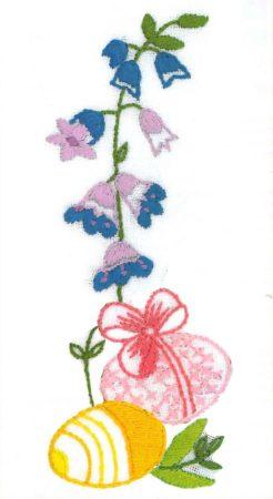 Hímes tojások és virág - előfestett masni szalag