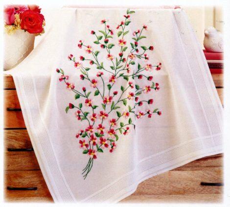 Piros virág - előfestett asztalterítő