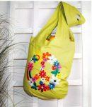 Virágok a szivárvány lábánál - előfestett bevásárló táska