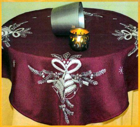 Karácsonyi csengők előfestett lila asztalterítő készlet
