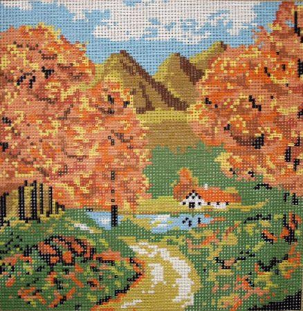 Hegyvidék ősszel- előnyomott gobelin