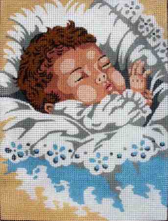 Alvó baba - előnyomott gobelin