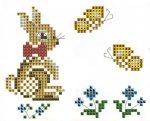 Nyuszi és lepkék - előfestett keresztszemes masni szalag