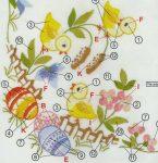 Húsvét a kertben - előfestett asztal terítő