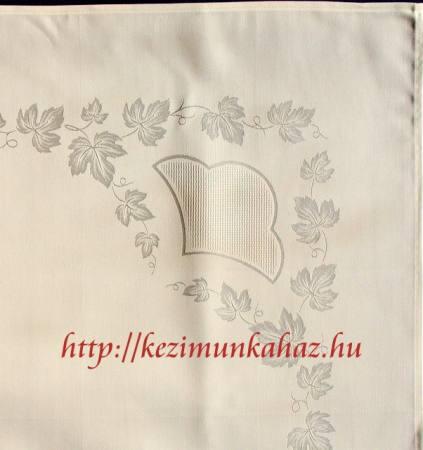 Damaszt asztalterítő - szőlő levelek - hímezhető kongré betéttel