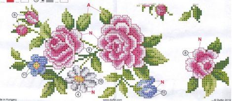 Rózsa kert - előfestett keresztszemes asztalterítő