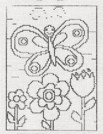 Pillangó és virágok - előnyomott gobelin