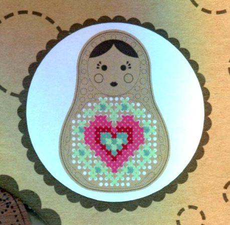 Szív + 5 db minta - hímezhető medál készlet