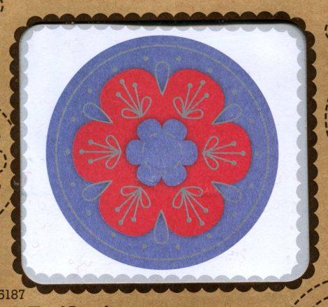 Virág - piros - hímezhető bross készlet