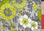 Virágok lime színben - mintás vászon anyag