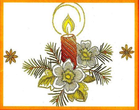 Gyertya virággal - előfestett asztalterítő