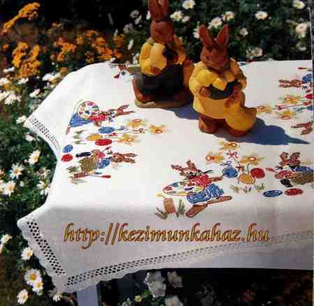 Tojást festő nyuszik - előfestett keresztszemes asztalterítő