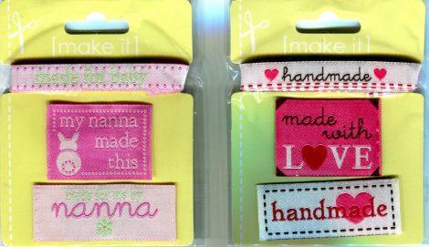 Címke és szalag - ruhára varrható textil matrica