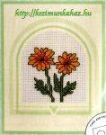 Körömvirágok - keresztszemes képeslap készlet