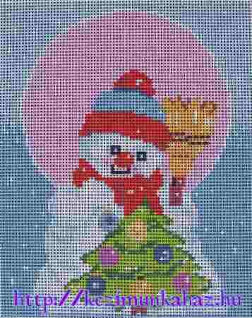Hóember karácsonyfával - előnyomott gobelin