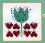 Tulipánt és szívek - leszámolható keresztszemes készlet