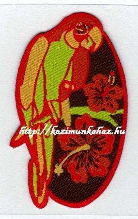 Papagáj - ruhára vasalható textil matrica