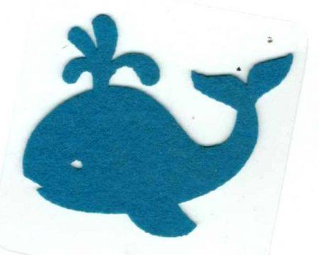 Bálna - kék - ruhára vasalható filc matrica