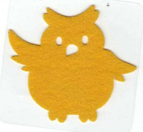 Bagoly - sárga - ruhára vasalható filc matrica