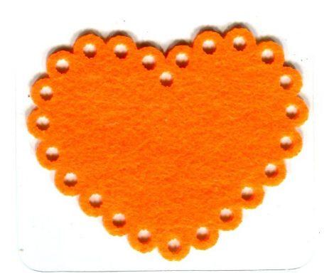 Szív narancssárga - ruhára vasalható filc matrica
