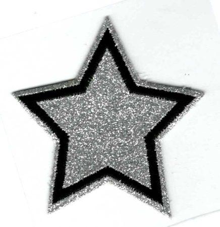 Csillag - ruhára vasalható glitteres textil matrica